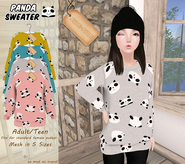 ::Puddi-Puddi:: Adult/Teen Female Panda Sweater