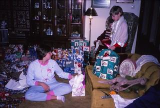 West Germany   -   Vaihingen   -   Patch Barracks   -   Bldg 2401  A6   -   Christmas   -   Jeb, Jessica & Oma   -   December 1986