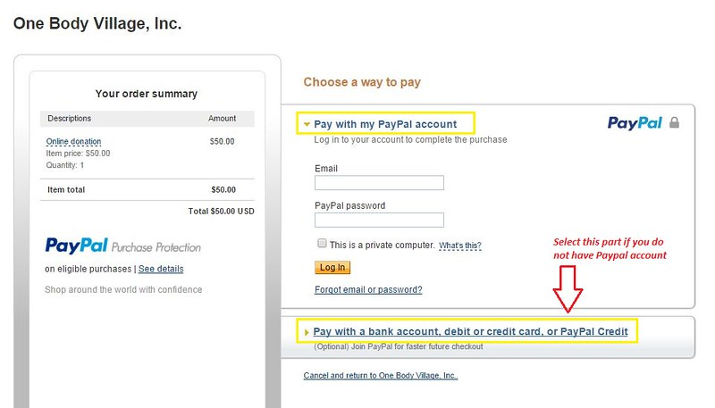 How to donate using credit card through PayPal