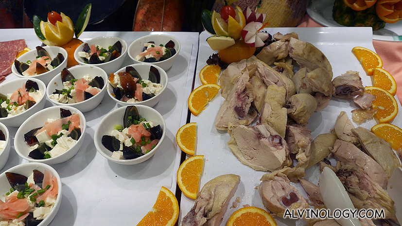 Hainanese chicken and century eggs