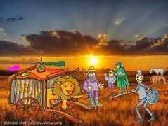 quijote con leones