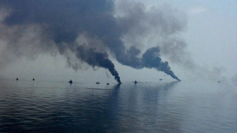 smoke plumes in the water during the Deepwater Horizon disaster