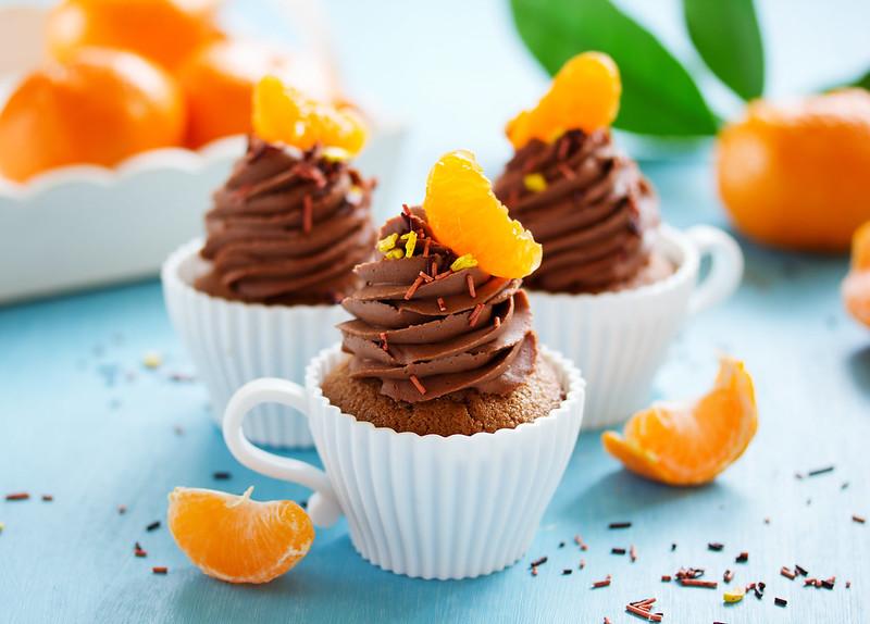 Chocolate cupcakes with orange and chocolate.