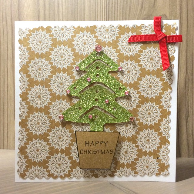 Christmas crafting - Hobbycraft kraft papers tree card