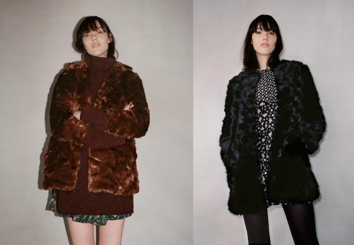 abrigo negro y marrón zara