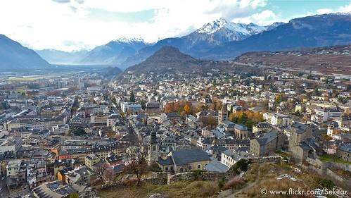 panorama schweiz switzerland view suisse svizzera schloss château wallis sion valais valère sitten svizra