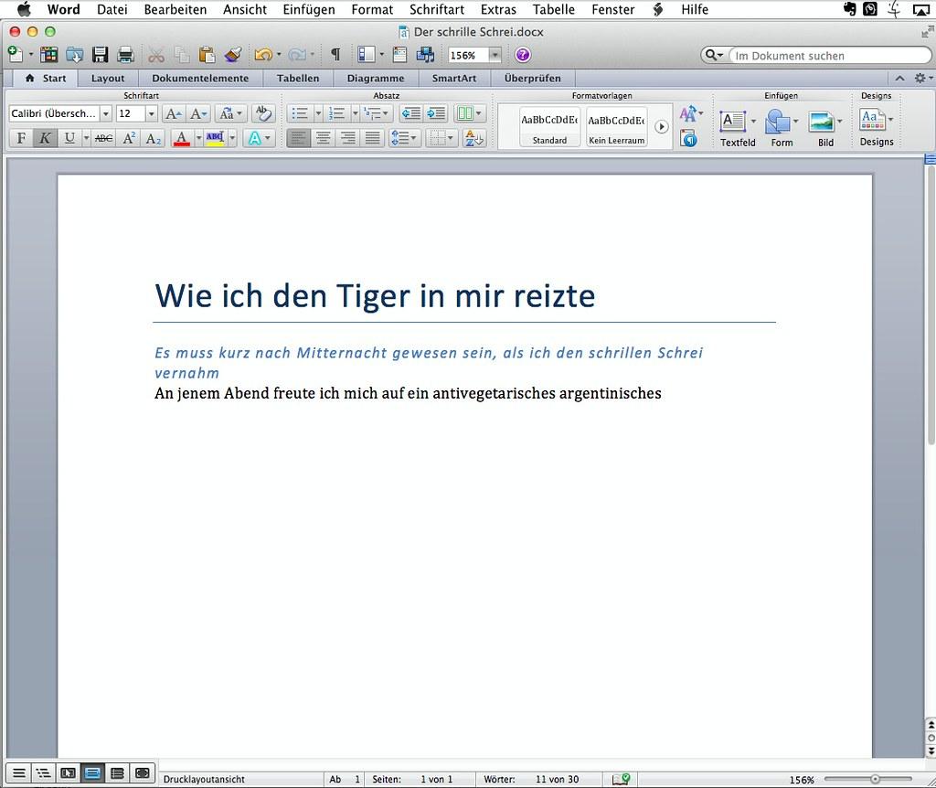 Mac Word: Ansicht Drucklayout