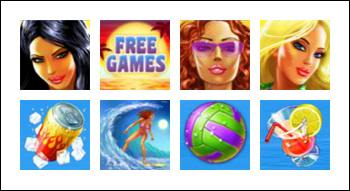 free Sunset Beach slot game symbols