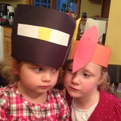 Teagan made #Thanksgiving #hats today. Ashlin was unimpressed.