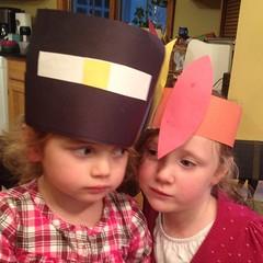 Teagan made #Thanksgiving #hats today. Ashlin was unimpressed.