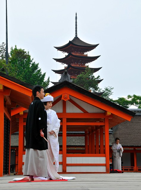 Itsukushima wedding and pagoda