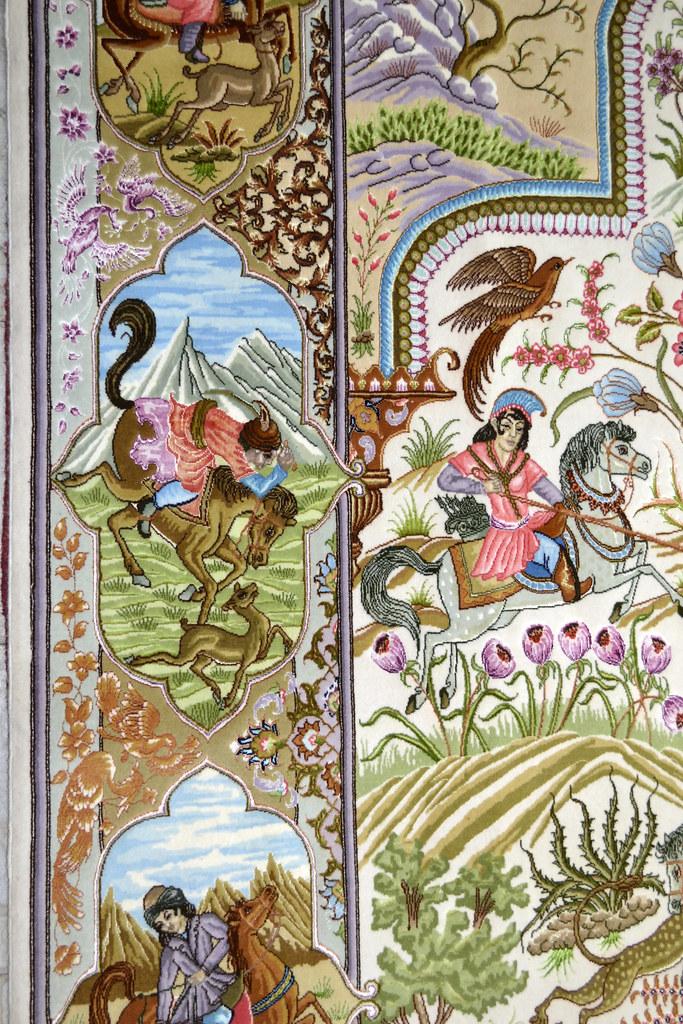Tabriz 70 Raj - hunting scene Fine 7x10 (16)