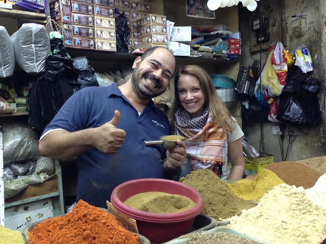 Rachelle visiting the spice market in Amman.