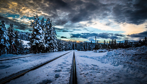 california winter sky snow unitedstates sierras drama railroadtracks sodasprings donnersummit