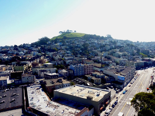 view of bernal heights from st. lukes solarium in the mission