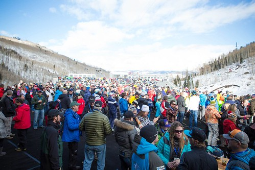 A massive crowd gathering at the finish area at Beaver Creek Mountain Resort