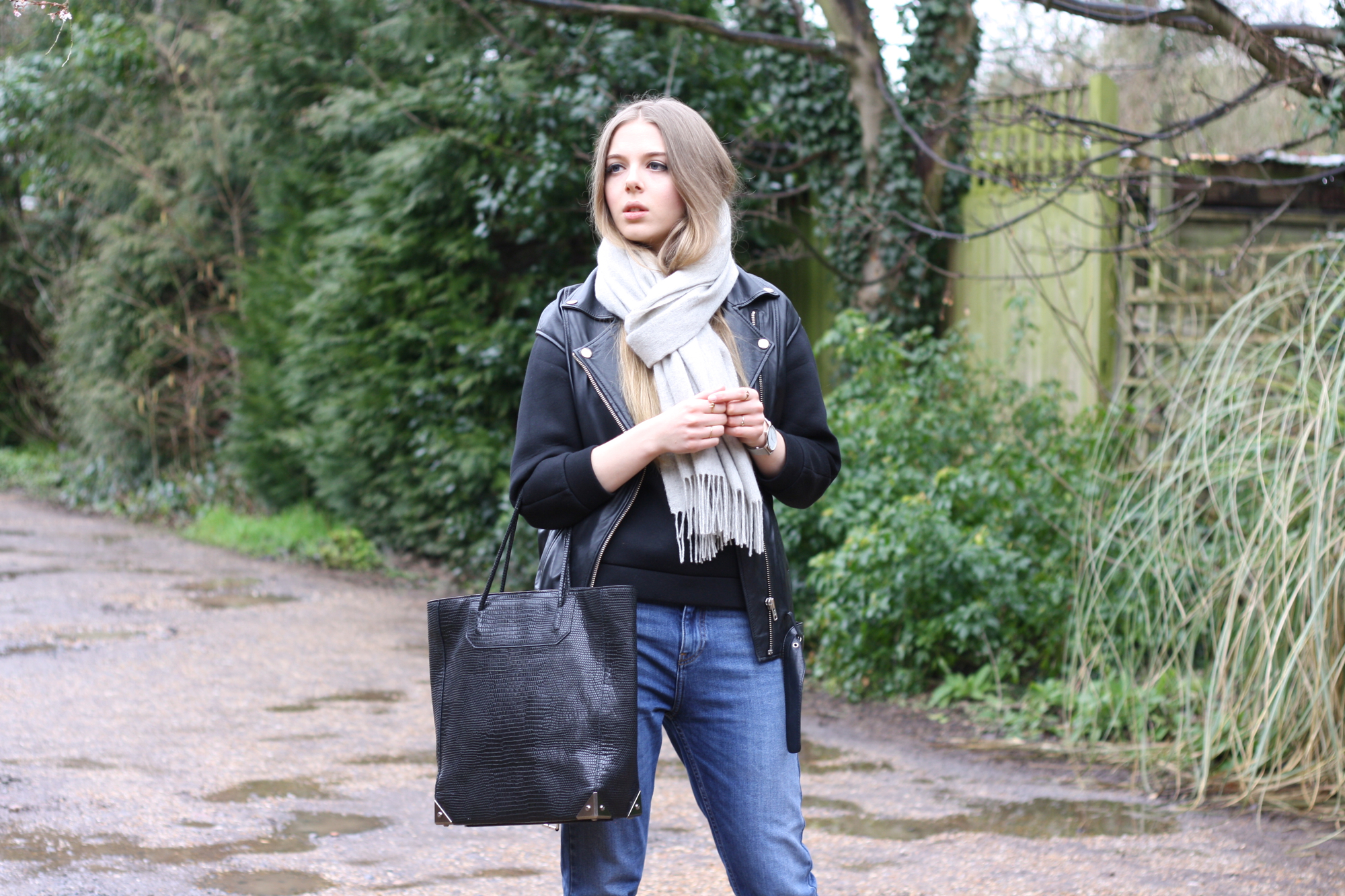 & Other Stories grey wool scarf