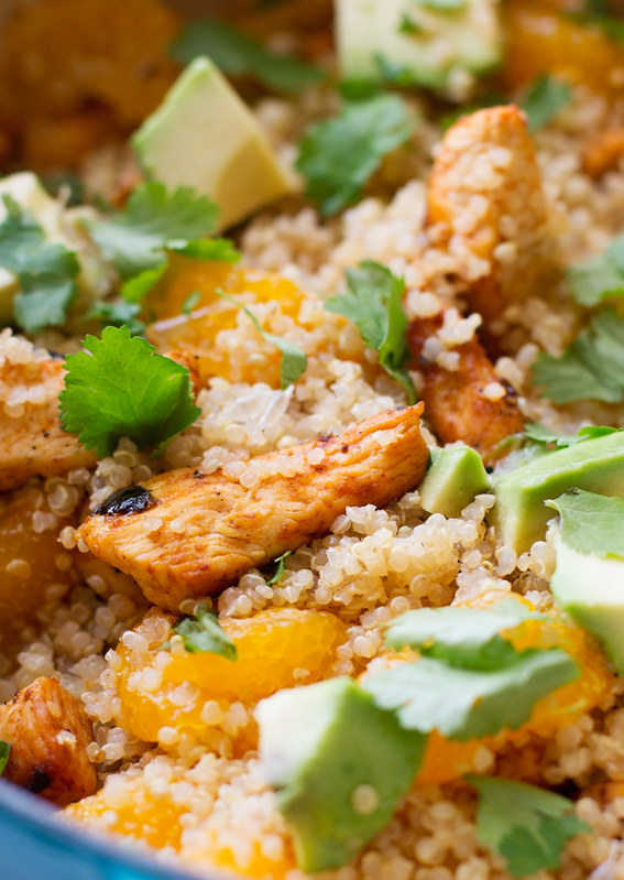 Light Citrus Chicken Quinoa Salad - A light and healthy citrus salad with creamy avocados, chunks of white meat chicken, mandarin oranges, and fresh cilantro. This chicken quinoa salad is so filling and still lighter on the calories! #chickensalad #quinoasalad #chickenquinoasalad #lightsalad   Littlespicejar.com