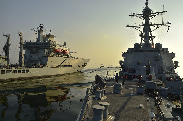 GULF OF OMAN - The guided-missile destroyer USS Gridley (DDG 101), right, refuels during a replenishment-at-sea evolution with the Royal Fleet Auxiliary fast fleet tanker Wave Ruler (A390).