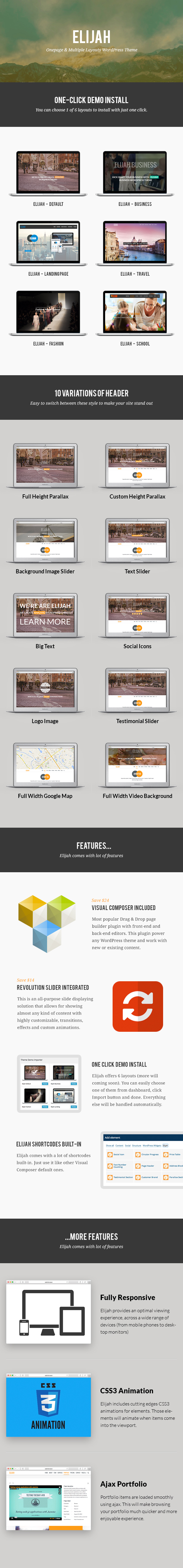 Elijah - Onepage & Multi Layouts WordPress Theme