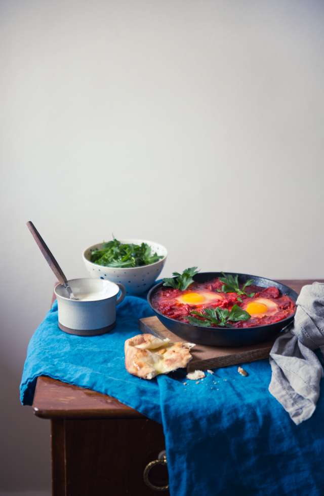 Tandoori Shakshuka w Naan Bread & Tahini Drizzle | Cashew Kitchen