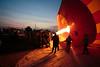Filling a hot air balloon, pre-dawn, Luxor