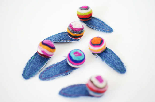 denim & wool felt ball hair clips