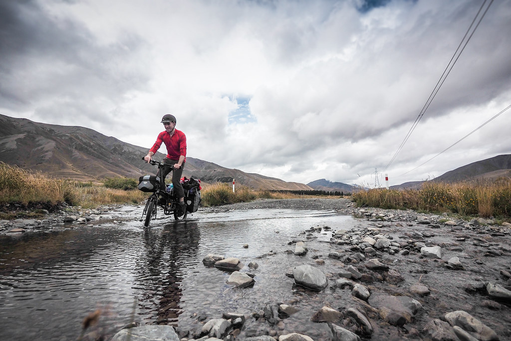 Crossing a ford in the Acheron Valley, Molesworth Muster Trail, New Zealand