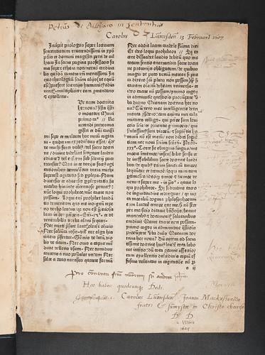 Ownership inscriptions in Alliaco, Petrus de: Questiones super libros Sententiarum Petri Lombardi