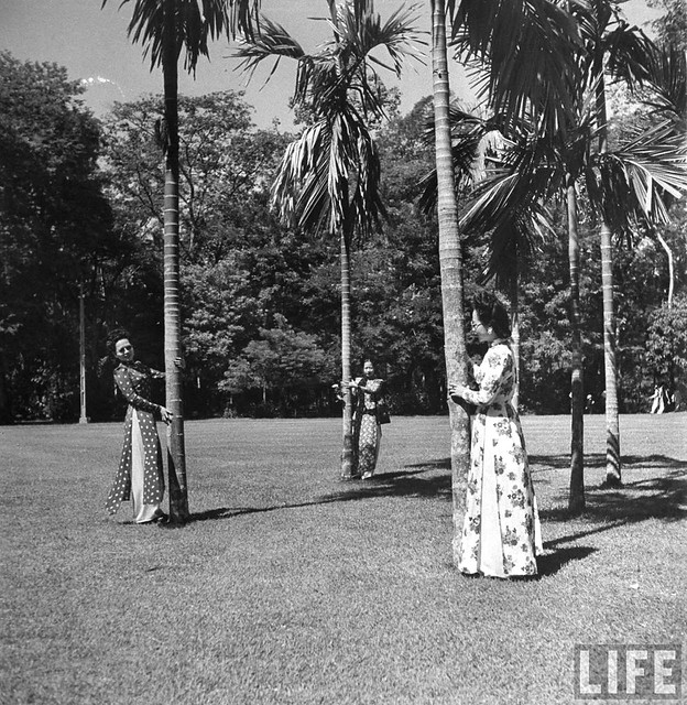 SAIGON 1948 - Vietnamese ladies walking among the palms