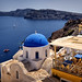 Blue Domed Church of Anastasis (Resurrection) in Oia. Santorini by Abariltur