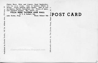 Villa Rose Tavern postcard verso