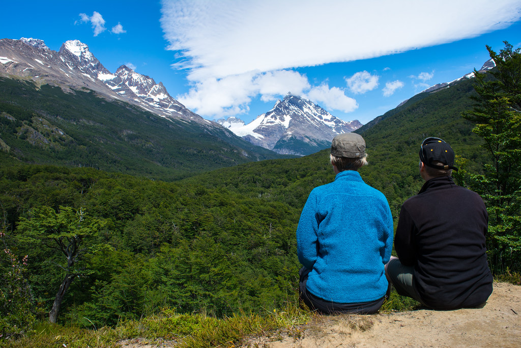 Observing Perros glacier in the distance