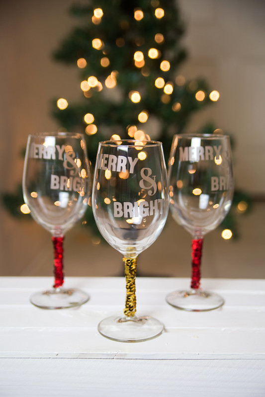 Merry and Bright Sequin Wine Glasses