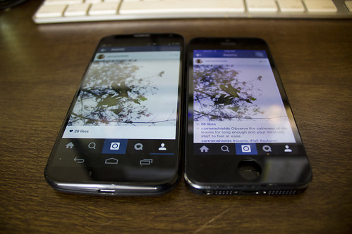 Moto X and iPhone 5 side by side