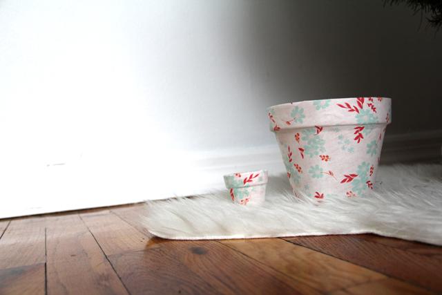 DIY Fabric Covered Terra Cotta Pots