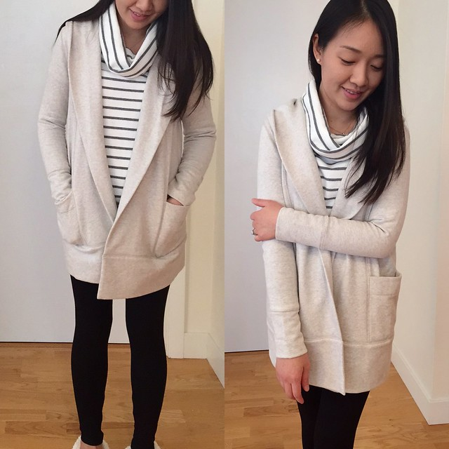 LOFT open hoodie (size SP) and Lou & Grey brushstripe tunic (size XXS)