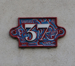 37 - painted house number plaque