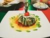 Eggplant, pesto, tomato sauce & parmesan cheese  :)
