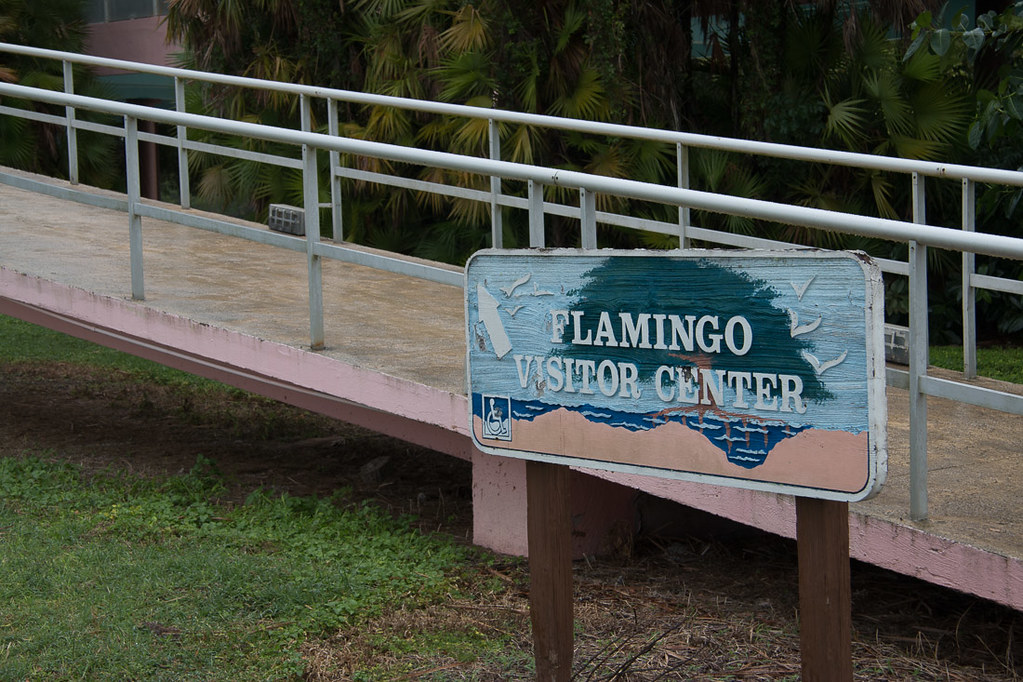 Sign for Flamingo Visitor Center at Everglades National Park