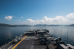 USS Bonhomme Richard approaches Sepanggar, Malaysia, Feb. 23. (U.S. Navy/MC3 Kevin V. Cunningham)