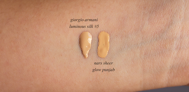 giorgio armani luminous silk foundation review n5 #5 5 nars sheer glow punjab nc30 swatch match