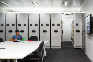 Electronic public access compactus shelving
