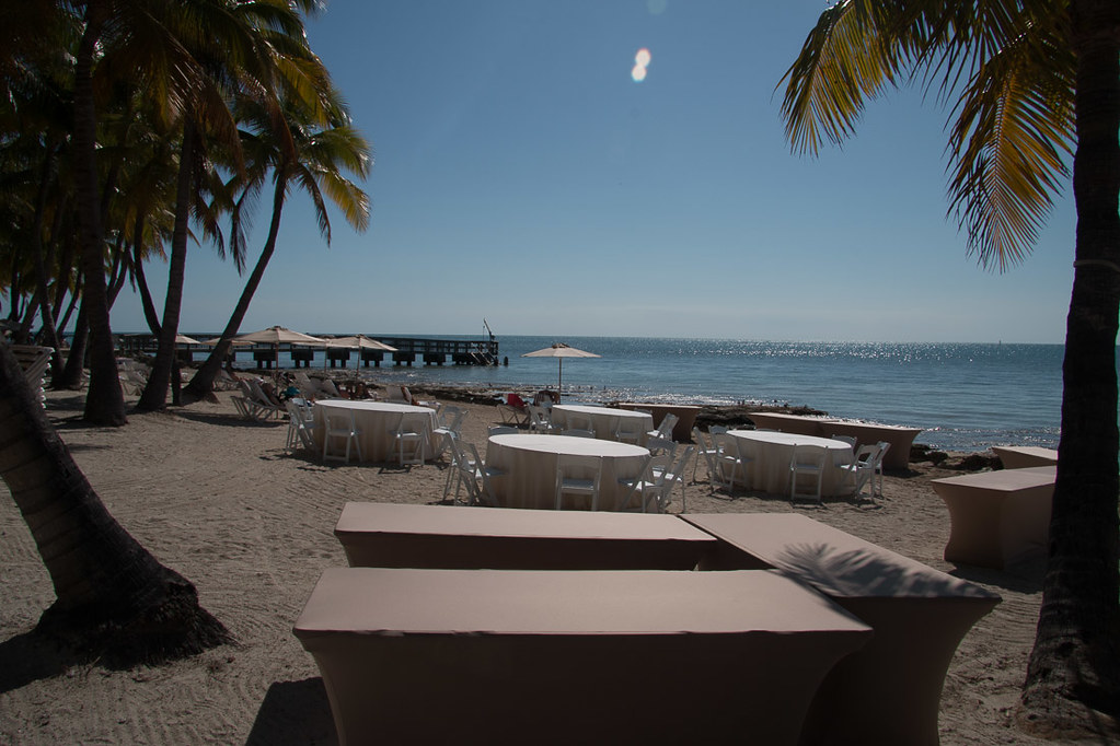 Table setup on beach at Casa Marina for event or wedding