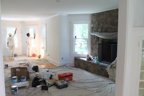 Painted Stone Fireplaces {Before}
