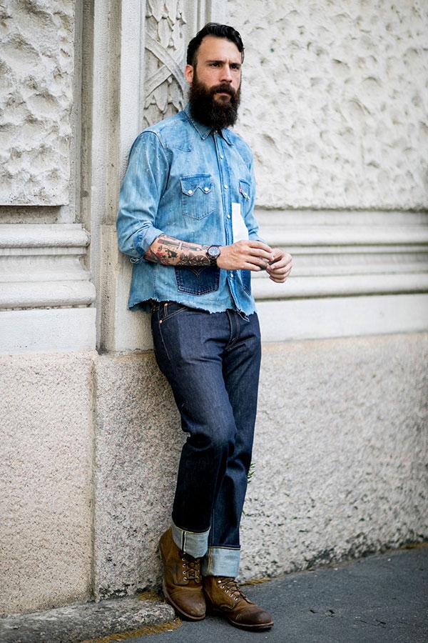 デニムウエスタンシャツ×デニムパンツ×キャメルロガーブーツ