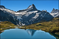Grindelwald ,The Bachalpsee  A view to the Wetterhorn & the Finsteraarhorn  .No.9093.