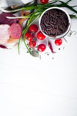 Dry Italian pasta spiraline, red cherry tomatoes,…