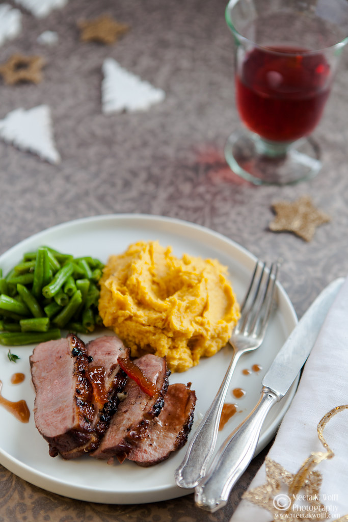 Orange Marmalade Glazed Duck Breasts with Parsnip Pumpkin Truffle Butter Mash-0207