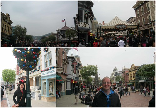 Christmas decorations on Main Street in HK Disneyland